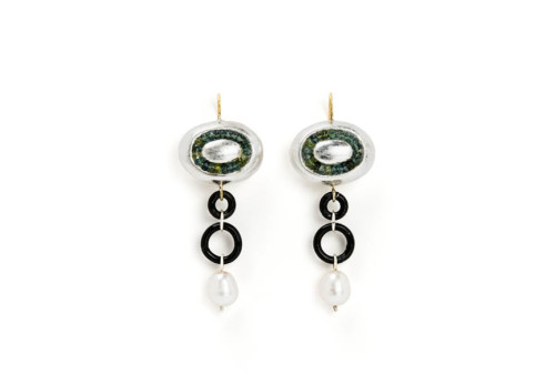 earrings galykos unique jewelry gold 18kt turmaline pearls papiermache silver leaf gian luca bartellone bodyfurnitures italy