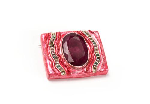 spilla aima gioiello pezzo unico argento rubino tormaline perle carta cartapesta gian luca bartellone bodyfurnitures