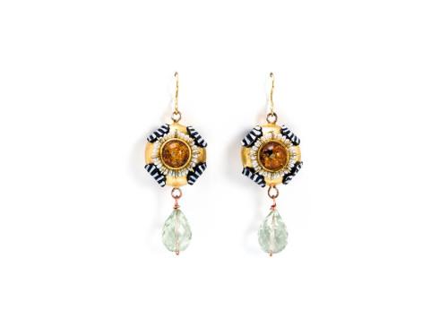 orecchini agrios gioielli pezzi unici oro cartapesta rame ambra amestista foglia oro bartellone bodyfurnitures bolzano
