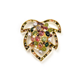 brosche akinos unikatschmuck diamant turmaline perlen gold pappmache gian luca bartellone bodyfurnitures italien