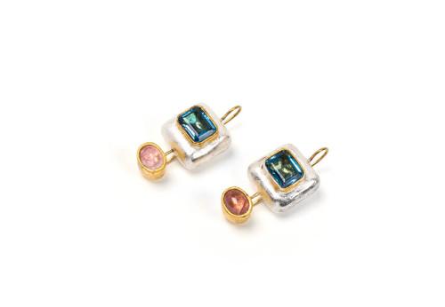 orecchini ethos gioiello pezzo unico tansanite oro tormaline cartapesta bartellone bodyfurnitures alto adige