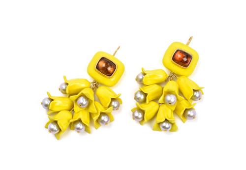 orecchini forsythia gioiello pezzo unico floreale giallo oro tormaline perle cartapesta gian luca bartellone bodyfurnitures