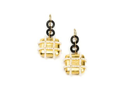 Earrings sintesi: unique handmade jewelry using gold 18k, iron, pearls, papiermache. Jewelry Designer Gian Luca Bartellone, Bodyfurnitures