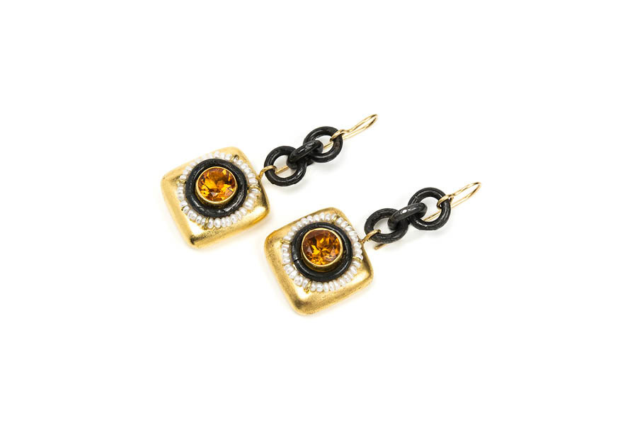 Earrings Tesi: unique italian handmade jewelry with gold 18k, iron, citrine, papiermache by Gian Luca Bartellone, Bodyfurnitures