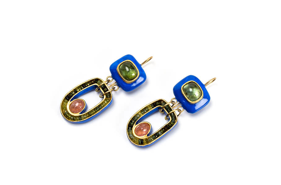 Earrings Tetra: unique jewelry design with gold 18k, blue tourmaline and papier-mâché by Gian Luca Bartellone, Bodyfurnitures Italy