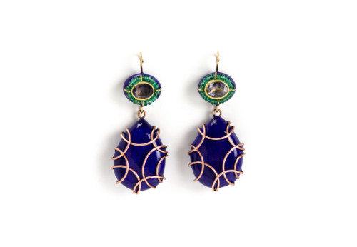 Earrings Area: one of a kind jewelry design made from gold, papermaché, emeralds, copper by Gian Luca Bartellone of Bodyfurnitures