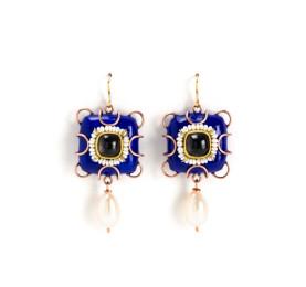 Ohrringe Lumina Schmuckunikat in blau aus Kupfer, Gold, Perlen vom Schmuckdesigner Gian Luca Bartellone aus Italien