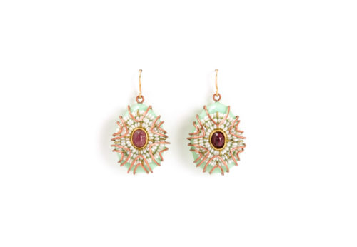 Earrings Centro, one-of-a-kind jewelry made from copper, tourmalines, pearls, gold and gold leaf. By the artist Gian Luca Bartellone of Bodyfurnitures, Italia