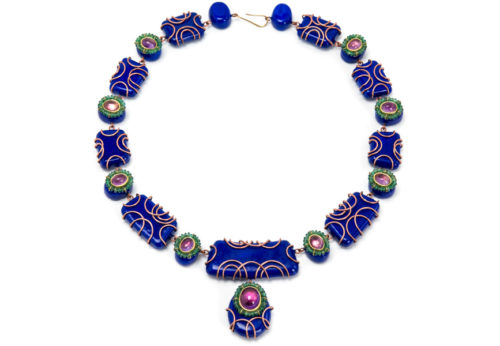 Halskette Insta: Unikatschmuck mit Smaragde, Amethyst, Kupfer, Pappmaché, Gold 18kt von Bodyfurnitures Gian Luca Bartellone aus Italien, Südtirol