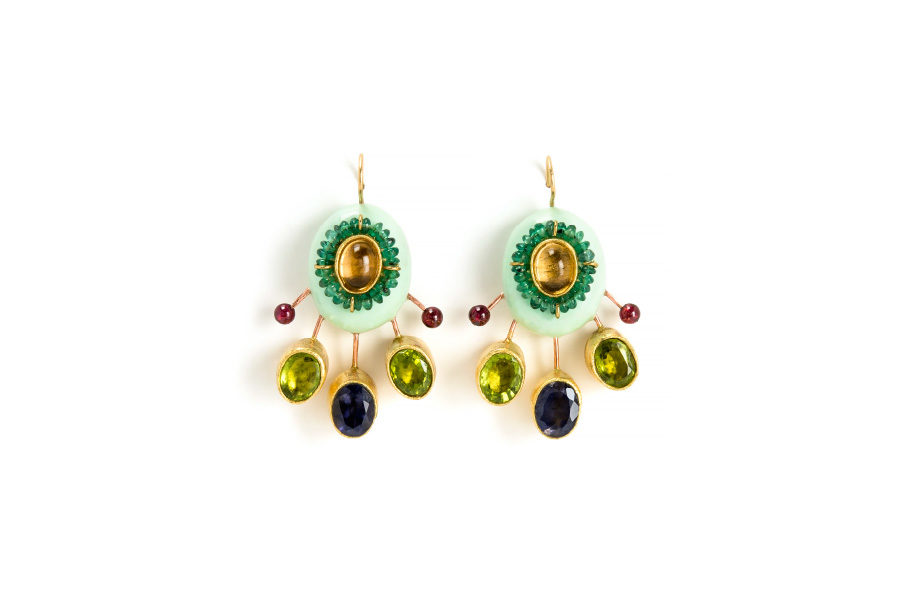 earrings argeo unique jewellery italy gold copper paper emeralds gian luca bartellone bodyfurnitures