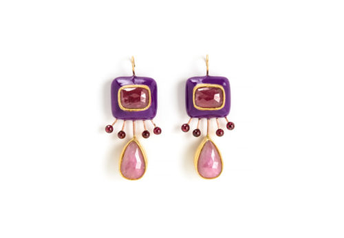 earrings charta unique jewelry rose ruby gold copper gian luca bartellone italy bodyfurnitures