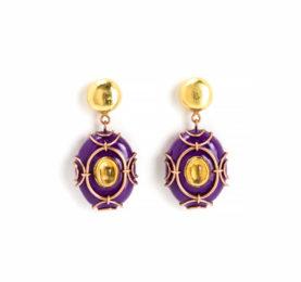 Orecchini Vimen 2016: gioielli pezzi unici color viola con oro, rame, citrino e cartapesta. Creato e disegnato dall'artista lombardo Gian Luca Bartellone, Bodyfurnitures.