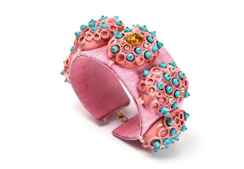 Bracelet Morpho: one-of-a-kind-jewellery by Gian Luca Bartellone, Bodyfurnitures, Italy. Materials: Gold 18kt, diamond, turquoise, citrine, pearls, rose silk and papiermache.