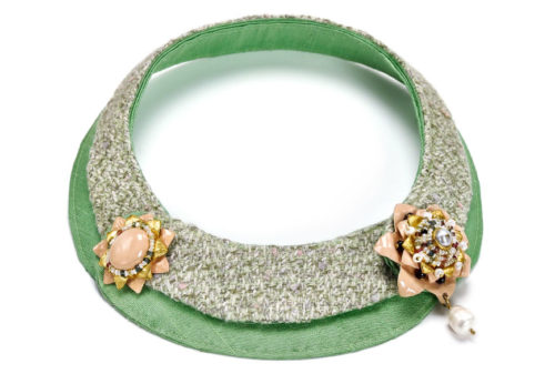 Necklace Infra, 2012. One-of-a-kind jewelry made of textile, gold, wool, green silk, tourmalines, garnets, pearls and papier-mâché by Gian Luca Bartellon, Bodyfurnitures Italy