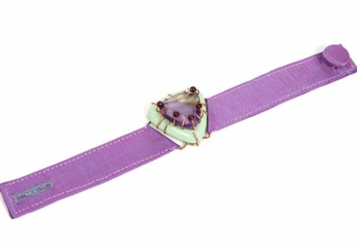 Bracelet Odegos, unique jewellery with copper, ametrine, purple silk, garnet and papier-mâché. Made by italian artist Gian Luca Bartellone, Bodyfurnitures, South Tyrol.