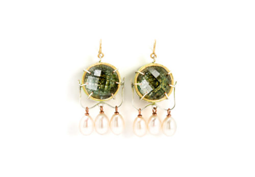 Earrings Arto 2018: Contemporary author jewelry made of gold 18kt, rock crystals, tourmalines, pearls by artist Gian Luca Bartellone, Italy