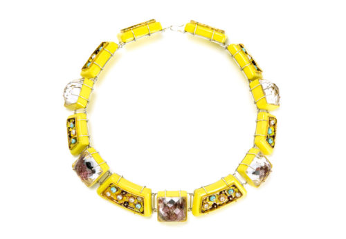Necklace Echo, 2018: contemporary author jewelry by artist Gian Luca Bartellone, Bodyfurnitures Italy. The materials are: papier-mâché, silver-plated copper, copper, resin, rock crystals, tourmalines, pearls, garnets, turquoise paste, paper, gold leaf 22kt. Shown at MAD Museum New York during Loot 2018.