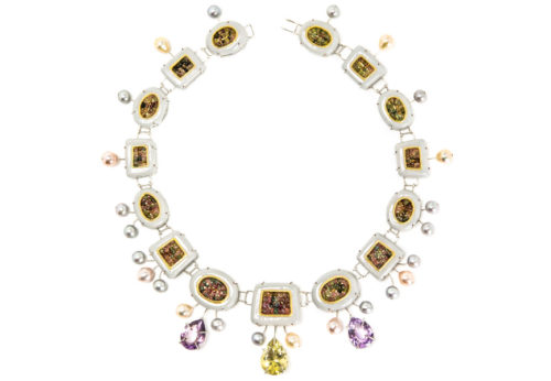 Contemporary art jewelry from Italy: Necklace Cinis 2018, materials: papier-mâché, silver-plated copper, citrine, rose amethysts, tourmalines. Gian Luca Bartellone, Bodyfurnitures.