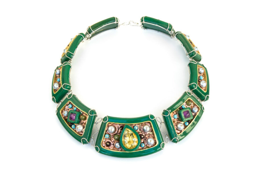 Italian contemporary jewelry: one-of-a-kind necklace Hybris. Materials: papier-mâché, silver-plated copper, copper, citrine, amethysts, garnets, peridots, turquoise paste, pearls, paper, gold leaf 22kt. By artist Gian Luca Bartellone, Bodyfurnitures Italy.