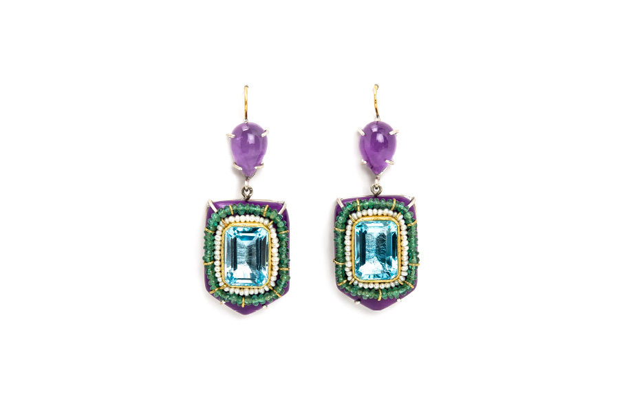Contemporary jewelry from Italy: Earrings Nitens, materials: papier-mâché, gold 18kt, silver, topazes, emeralds, amethysts, pearls, gold leaf 22kt. By european jeweler and artist Gian Luca Bartellone, Bodyfurnitures.