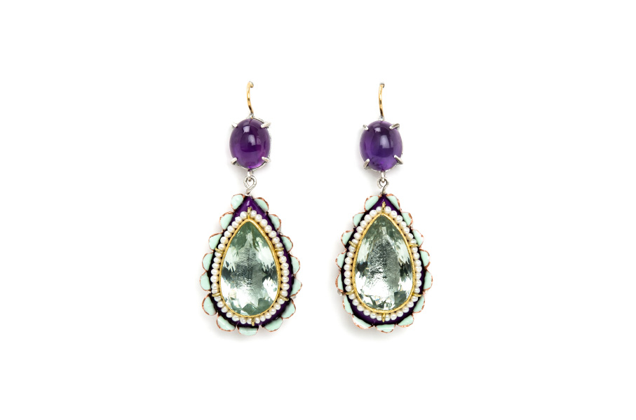 European contemporary jewelry: Earrings Ninfea. Materials: green amethysts, purple amethysts, pearls, gold, papier-mâché, silver, copper, gold leaf 22kt. By european artist Gian Luca Bartellone, Bodyfurnitures.