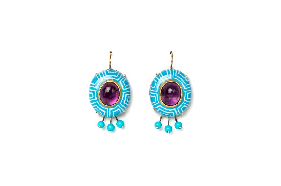 gioiello contemporaneo italiano orecchini azzurri hypno ametista turchesi gianluca bartellone milano